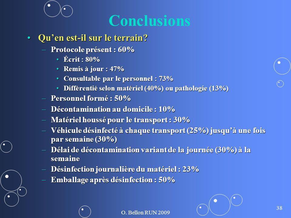 O. Bellon RUN 2009 38 Conclusions Quen est-il sur le terrain?Quen est-il sur le terrain? –Protocole présent : 60% Écrit : 80%Écrit : 80% Remis à jour