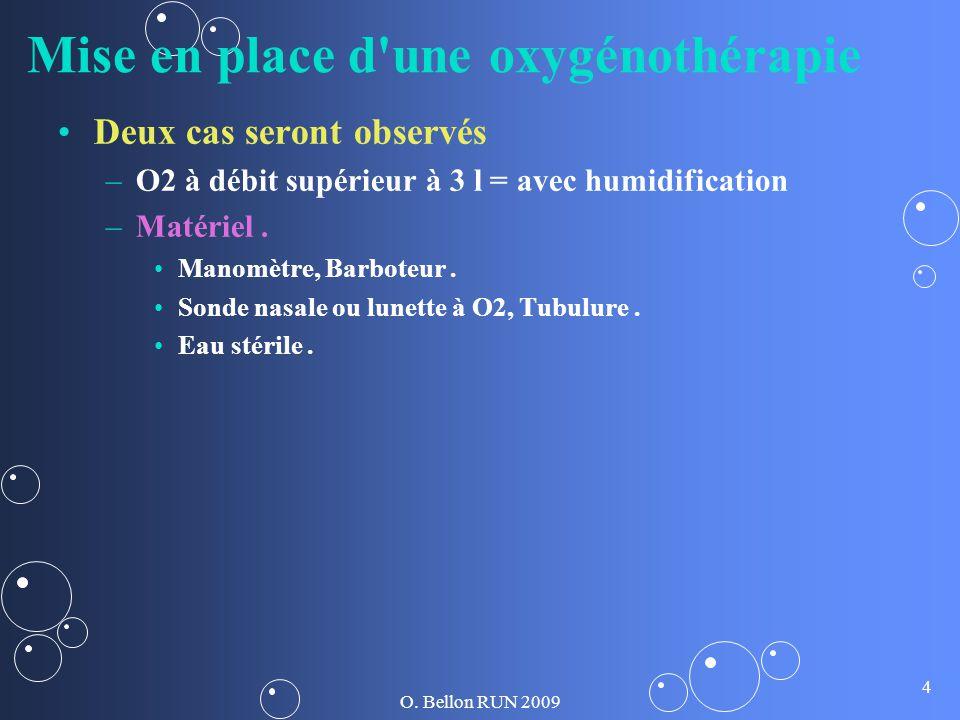 O. Bellon RUN 2009 4 Mise en place d'une oxygénothérapie Deux cas seront observés – –O2 à débit supérieur à 3 l = avec humidification – –Matériel. Man