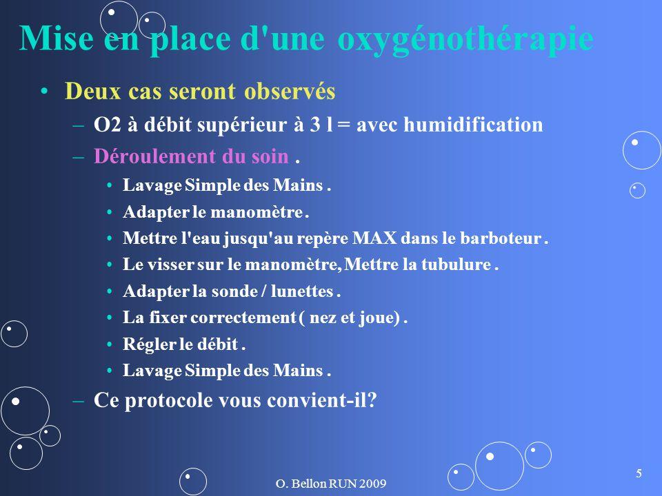 O. Bellon RUN 2009 5 Mise en place d'une oxygénothérapie Deux cas seront observés – –O2 à débit supérieur à 3 l = avec humidification – –Déroulement d