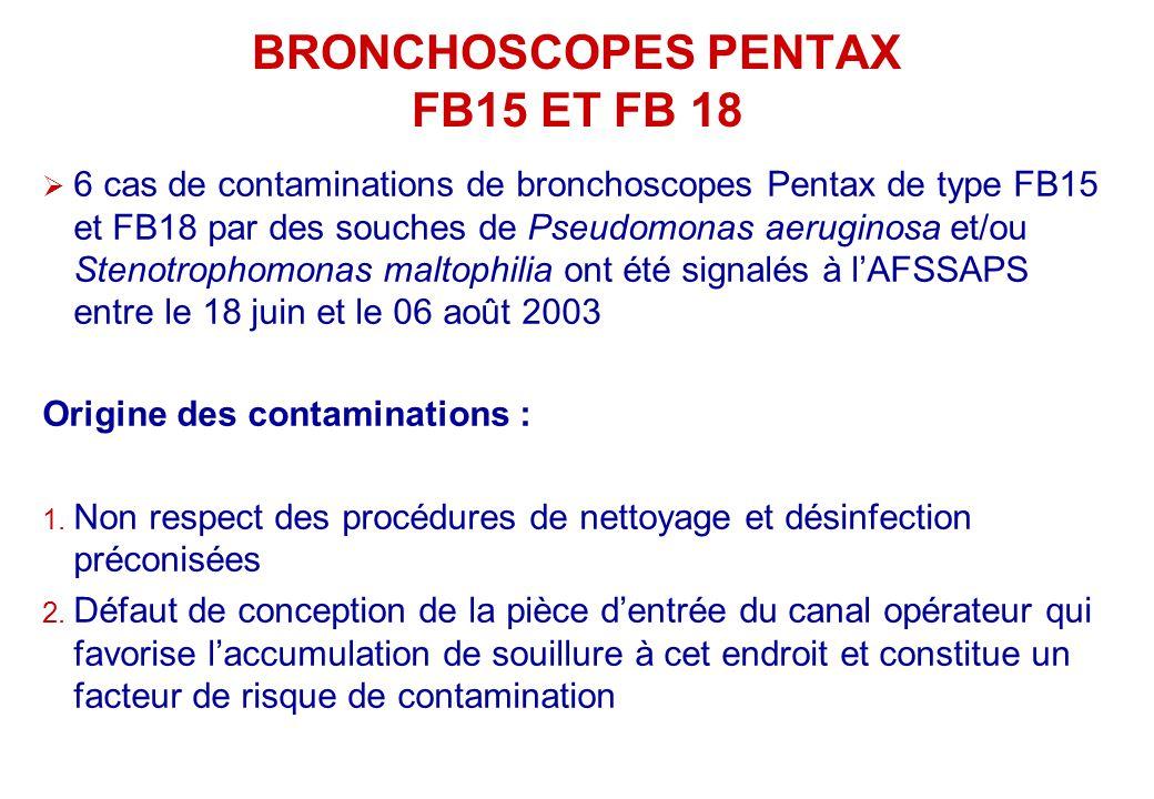 BRONCHOSCOPES PENTAX FB15 ET FB 18 6 cas de contaminations de bronchoscopes Pentax de type FB15 et FB18 par des souches de Pseudomonas aeruginosa et/o