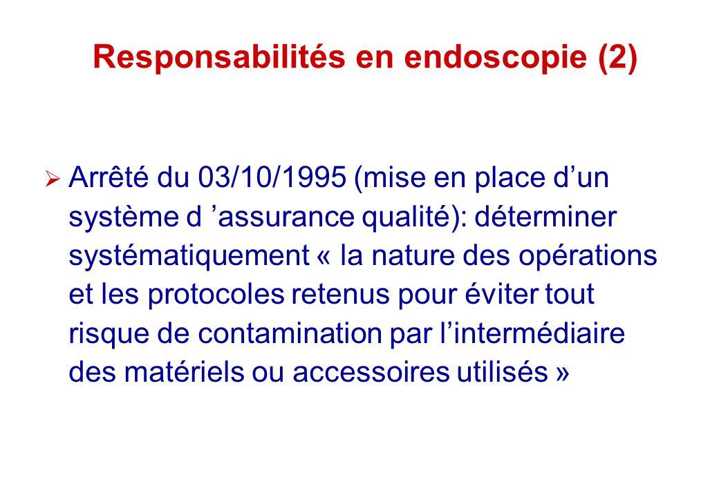 Responsabilités en endoscopie (2) Arrêté du 03/10/1995 (mise en place dun système d assurance qualité): déterminer systématiquement « la nature des op
