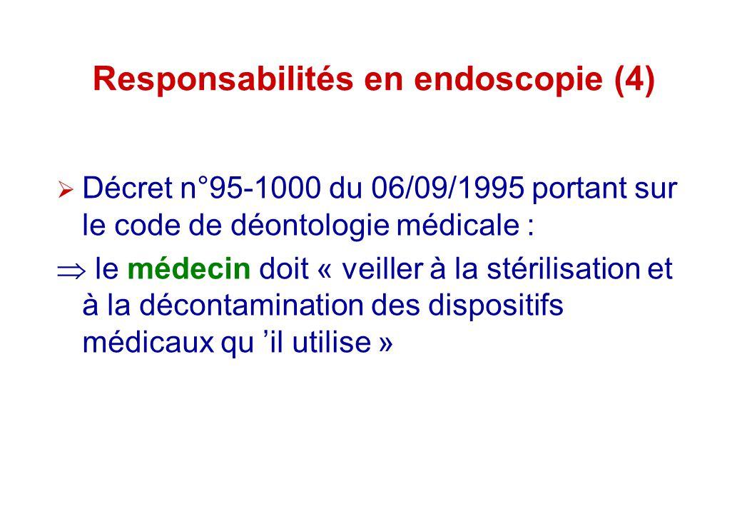 Responsabilités en endoscopie (4) Décret n°95-1000 du 06/09/1995 portant sur le code de déontologie médicale : le médecin doit « veiller à la stérilis
