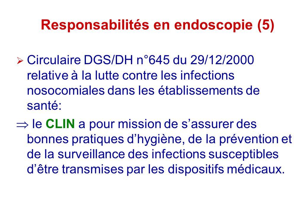 Responsabilités en endoscopie (5) Circulaire DGS/DH n°645 du 29/12/2000 relative à la lutte contre les infections nosocomiales dans les établissements
