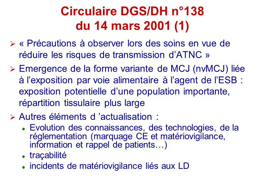 Circulaire DGS/DH n°138 du 14 mars 2001 (1) « Précautions à observer lors des soins en vue de réduire les risques de transmission dATNC » Emergence de