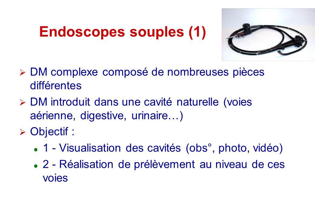 Endoscopes souples (1) DM complexe composé de nombreuses pièces différentes DM introduit dans une cavité naturelle (voies aérienne, digestive, urinair