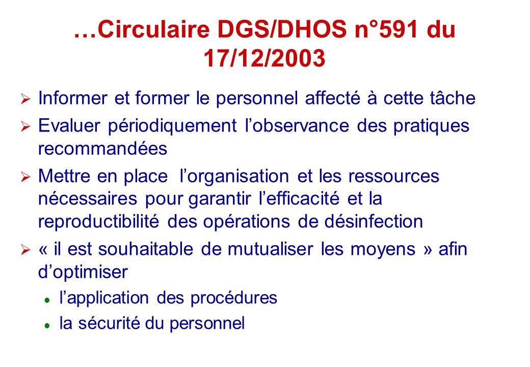 …Circulaire DGS/DHOS n°591 du 17/12/2003 Informer et former le personnel affecté à cette tâche Evaluer périodiquement lobservance des pratiques recomm