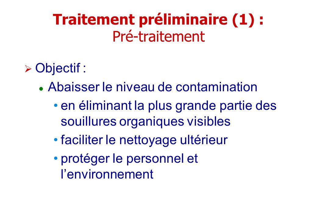 Traitement préliminaire (1) : Pré-traitement Objectif : Abaisser le niveau de contamination en éliminant la plus grande partie des souillures organiqu