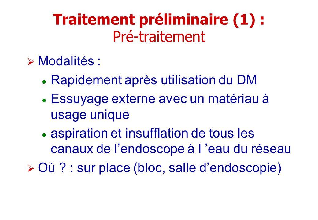 Traitement préliminaire (1) : Pré-traitement Modalités : Rapidement après utilisation du DM Essuyage externe avec un matériau à usage unique aspiratio