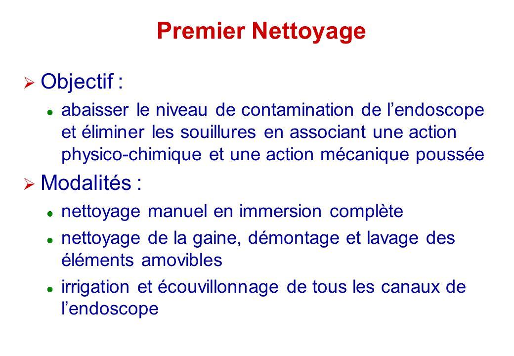 Premier Nettoyage Objectif : abaisser le niveau de contamination de lendoscope et éliminer les souillures en associant une action physico-chimique et
