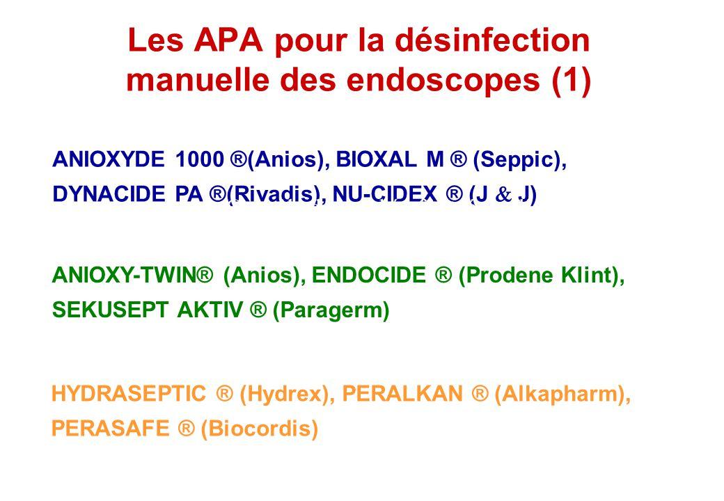 Les APA pour la désinfection manuelle des endoscopes (1) ANIOXYDE 1000 ®(Anios), BIOXAL M ® (Seppic), DYNACIDE PA ®(Rivadis), NU-CIDEX ® (J J) ANIOXY-
