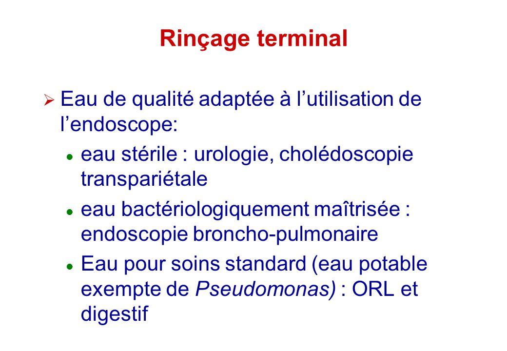 Rinçage terminal Eau de qualité adaptée à lutilisation de lendoscope: eau stérile : urologie, cholédoscopie transpariétale eau bactériologiquement maî