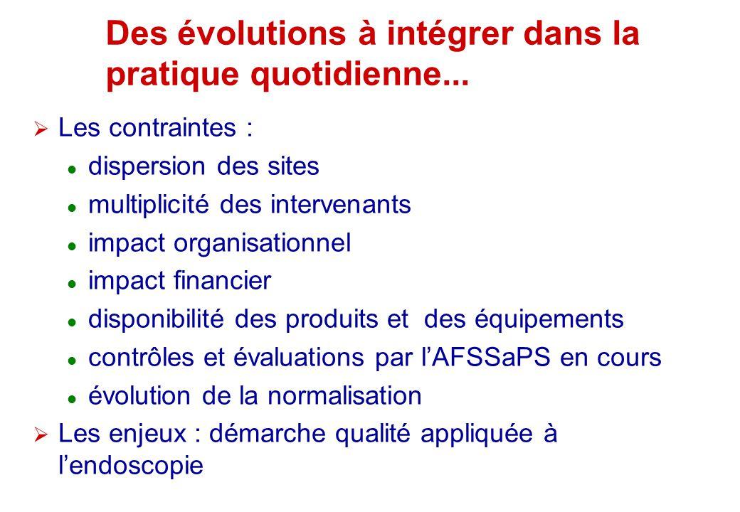 Des évolutions à intégrer dans la pratique quotidienne... Les contraintes : dispersion des sites multiplicité des intervenants impact organisationnel