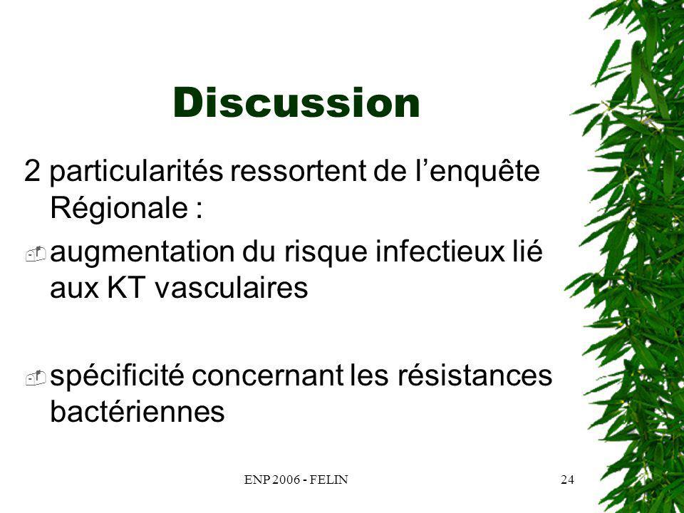 ENP 2006 - FELIN24 Discussion 2 particularités ressortent de lenquête Régionale : augmentation du risque infectieux lié aux KT vasculaires spécificité concernant les résistances bactériennes