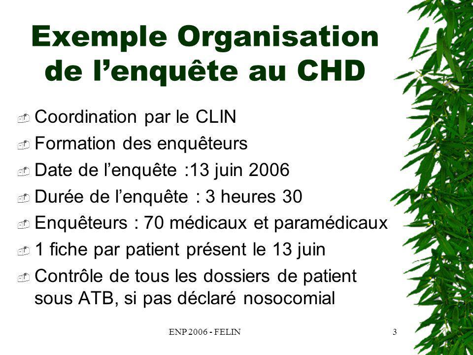ENP 2006 - FELIN3 Exemple Organisation de lenquête au CHD Coordination par le CLIN Formation des enquêteurs Date de lenquête :13 juin 2006 Durée de le