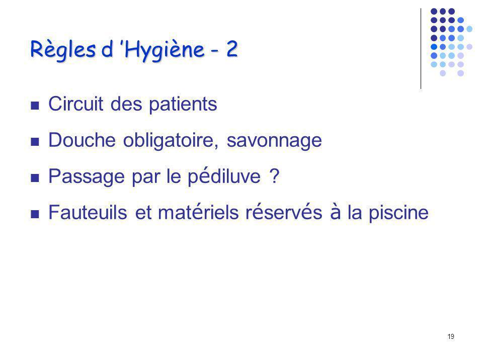 18 Règles d Hygiène - 1 Doivent être respectées par les baigneurs et les intervenants Information des patients (plaquette) Accès limité à la piscine Séances planifiées et traçabilité du passage des patients