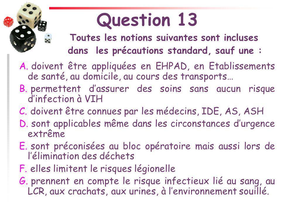 Question 13 Toutes les notions suivantes sont incluses dans les précautions standard, sauf une : A. doivent être appliquées en EHPAD, en Etablissement