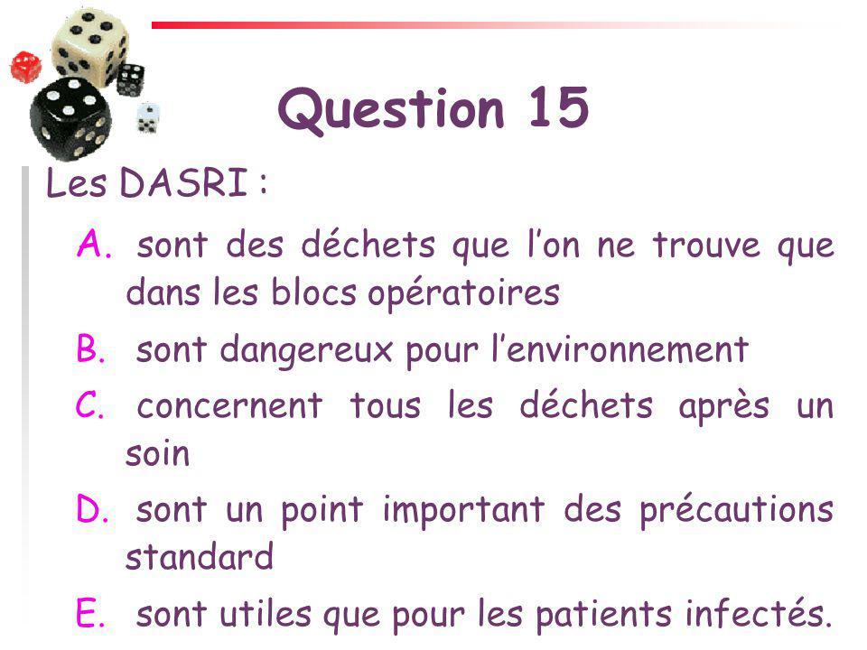 Question 15 Les DASRI : A. sont des déchets que lon ne trouve que dans les blocs opératoires B. sont dangereux pour lenvironnement C. concernent tous