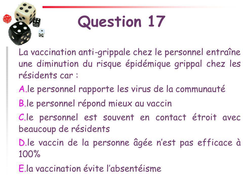 Question 17 La vaccination anti-grippale chez le personnel entraîne une diminution du risque épidémique grippal chez les résidents car : A.le personne