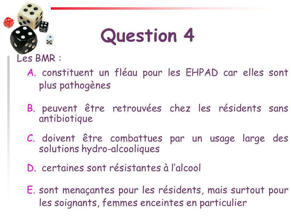 Question 4 Les BMR : A. constituent un fléau pour les EHPAD car elles sont plus pathogènes B. peuvent être retrouvées chez les résidents sans antibiot