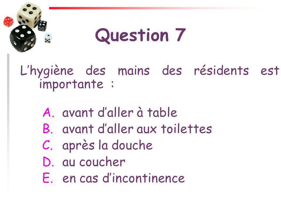Question 7 Lhygiène des mains des résidents est importante : A. avant daller à table B. avant daller aux toilettes C. après la douche D. au coucher E.