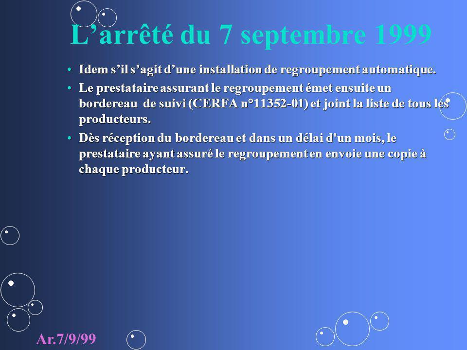 Larrêté du 7 septembre 1999 Idem sil sagit dune installation de regroupement automatique.Idem sil sagit dune installation de regroupement automatique.