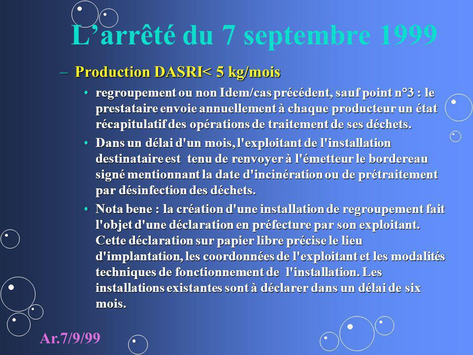 Larrêté du 7 septembre 1999 –Production DASRI< 5 kg/mois regroupement ou non Idem/cas précédent, sauf point n°3 : le prestataire envoie annuellement à chaque producteur un état récapitulatif des opérations de traitement de ses déchets.regroupement ou non Idem/cas précédent, sauf point n°3 : le prestataire envoie annuellement à chaque producteur un état récapitulatif des opérations de traitement de ses déchets.
