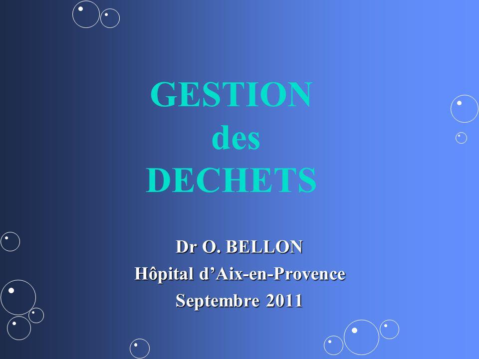 Dr O. BELLON Hôpital dAix-en-Provence Septembre 2011 GESTION des DECHETS