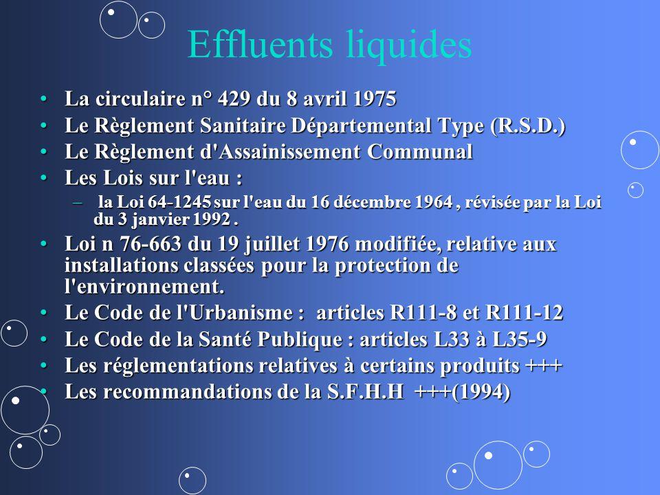 Effluents liquides La circulaire n° 429 du 8 avril 1975La circulaire n° 429 du 8 avril 1975 Le Règlement Sanitaire Départemental Type (R.S.D.)Le Règle