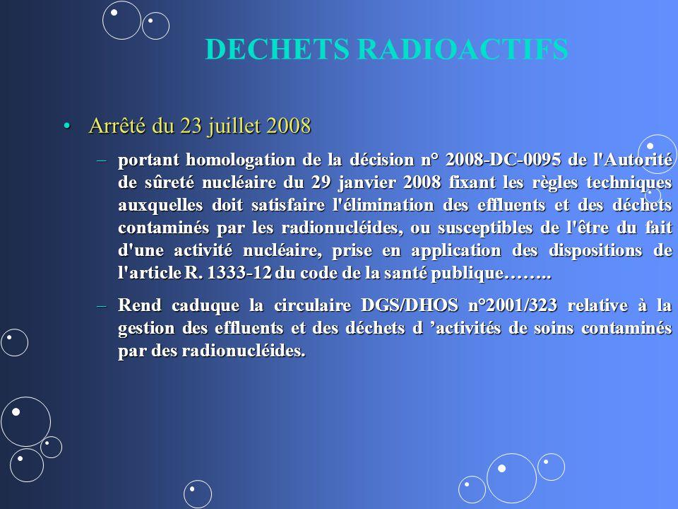 DECHETS RADIOACTIFS Arrêté du 23 juillet 2008Arrêté du 23 juillet 2008 –portant homologation de la décision n° 2008-DC-0095 de l'Autorité de sûreté nu