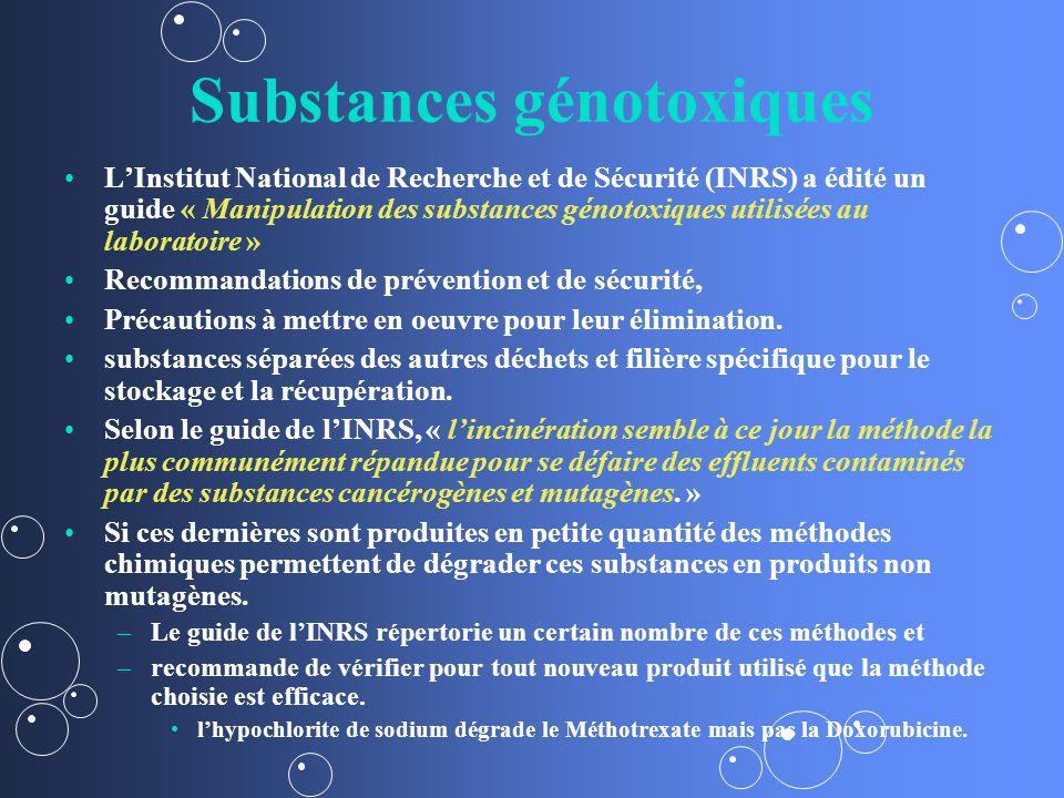 Substances génotoxiques LInstitut National de Recherche et de Sécurité (INRS) a édité un guide « Manipulation des substances génotoxiques utilisées au