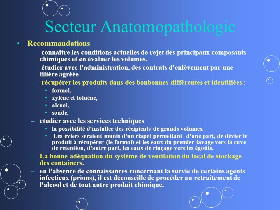 Secteur Anatomopathologie Recommandations – – connaître les conditions actuelles de rejet des principaux composants chimiques et en évaluer les volume