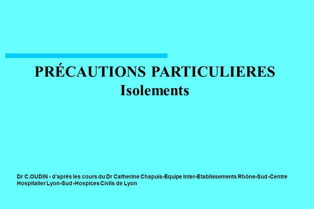 22 PRÉCAUTIONS « GOUTTELETTES » Isolement géographique Port de masque dans l environnement immédiat du patient Limitation des déplacements du patient (Hygiène des mains, gants, surblouse, matériel = Précautions standard )