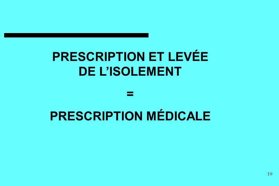 19 PRESCRIPTION ET LEVÉE DE LISOLEMENT = PRESCRIPTION MÉDICALE