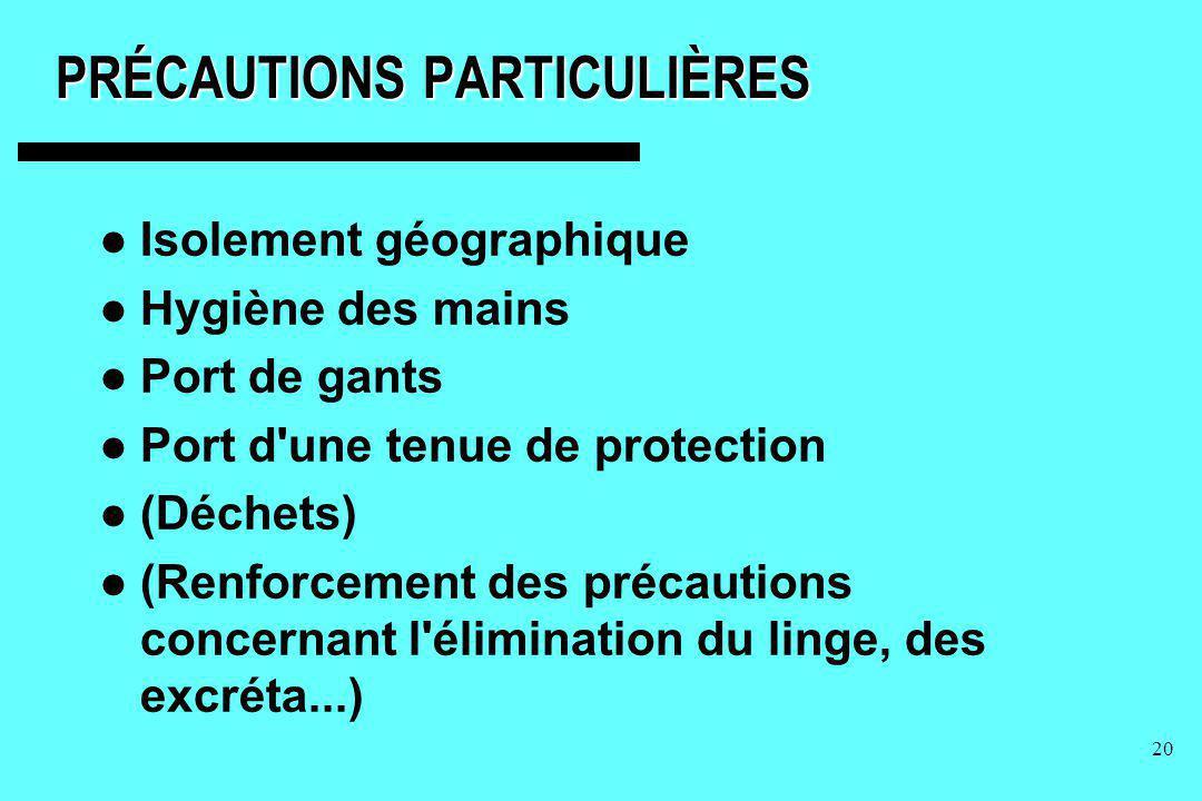 20 PRÉCAUTIONS PARTICULIÈRES Isolement géographique Hygiène des mains Port de gants Port d'une tenue de protection (Déchets) (Renforcement des précaut