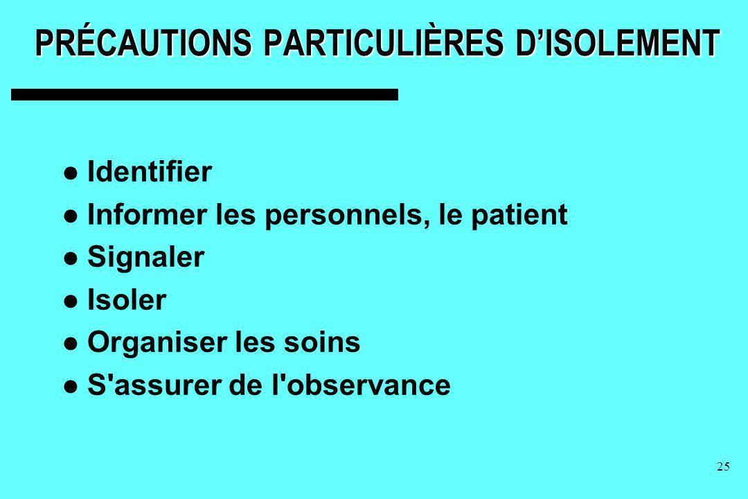 25 PRÉCAUTIONS PARTICULIÈRES DISOLEMENT Identifier Informer les personnels, le patient Signaler Isoler Organiser les soins S'assurer de l'observance