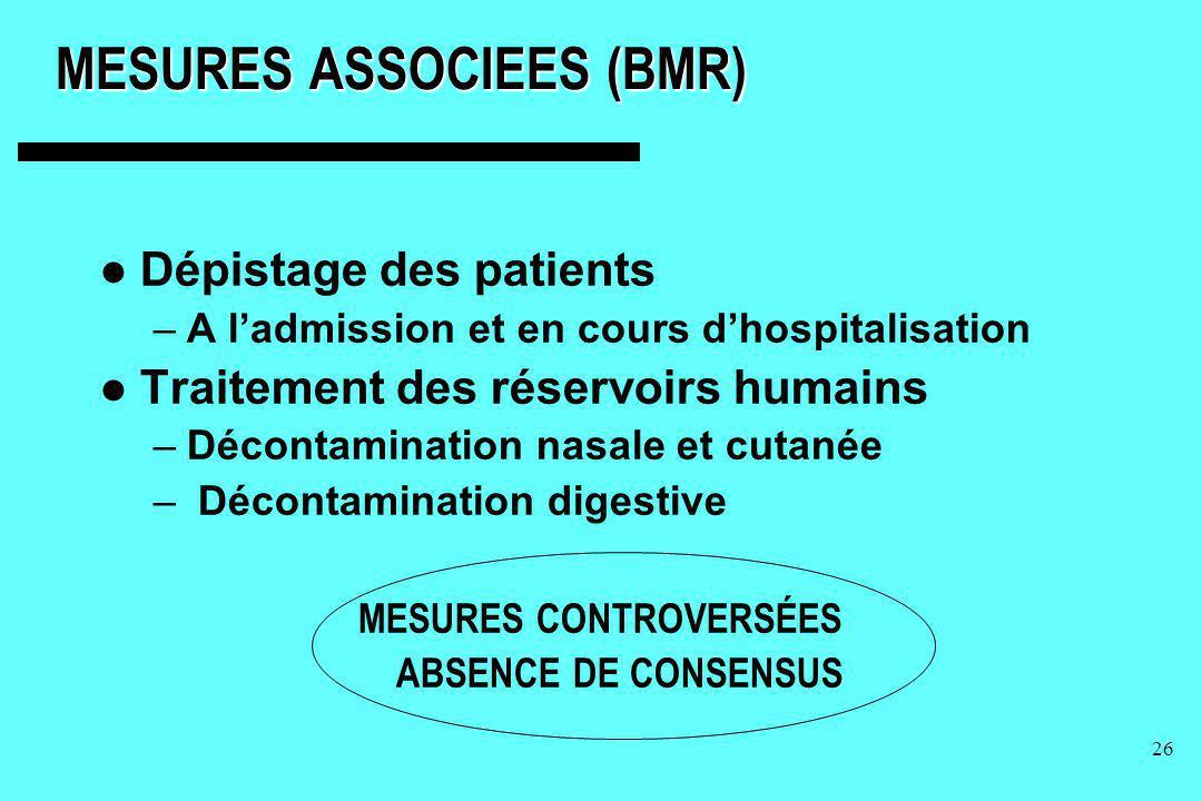 26 MESURES ASSOCIEES (BMR) Dépistage des patients –A ladmission et en cours dhospitalisation Traitement des réservoirs humains –Décontamination nasale