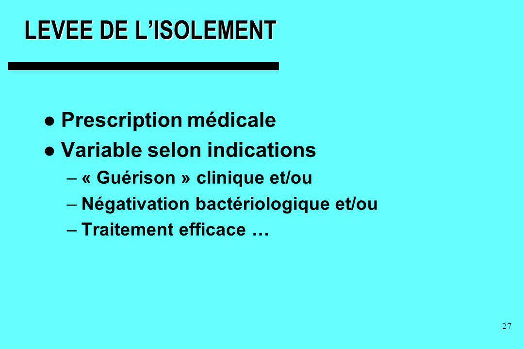 27 LEVEE DE LISOLEMENT Prescription médicale Variable selon indications –« Guérison » clinique et/ou –Négativation bactériologique et/ou –Traitement e