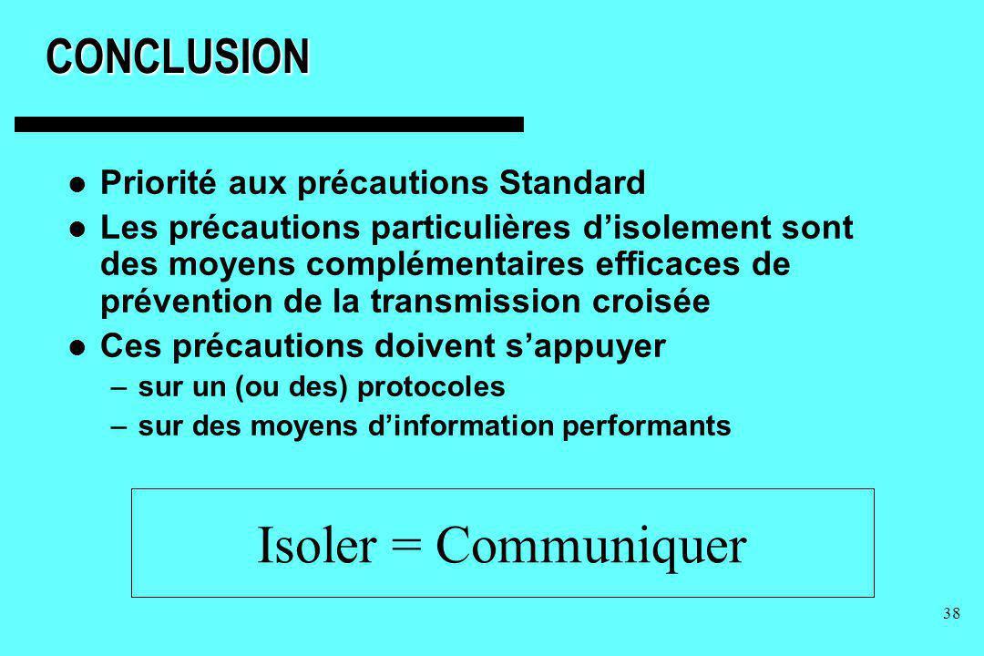 38CONCLUSION Priorité aux précautions Standard Les précautions particulières disolement sont des moyens complémentaires efficaces de prévention de la