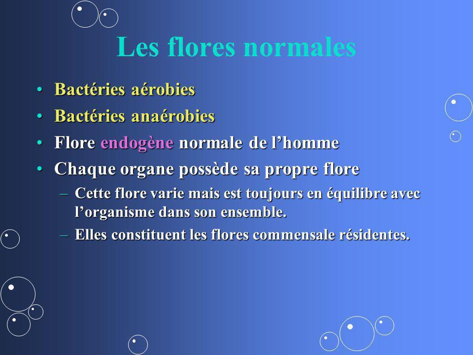 Les flores normales Bactéries aérobiesBactéries aérobies Bactéries anaérobiesBactéries anaérobies Flore endogène normale de lhommeFlore endogène norma