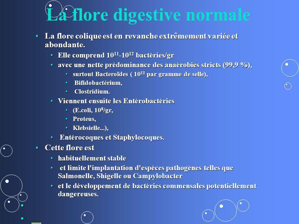La flore digestive normale La flore colique est en revanche extrêmement variée et abondante.La flore colique est en revanche extrêmement variée et abo