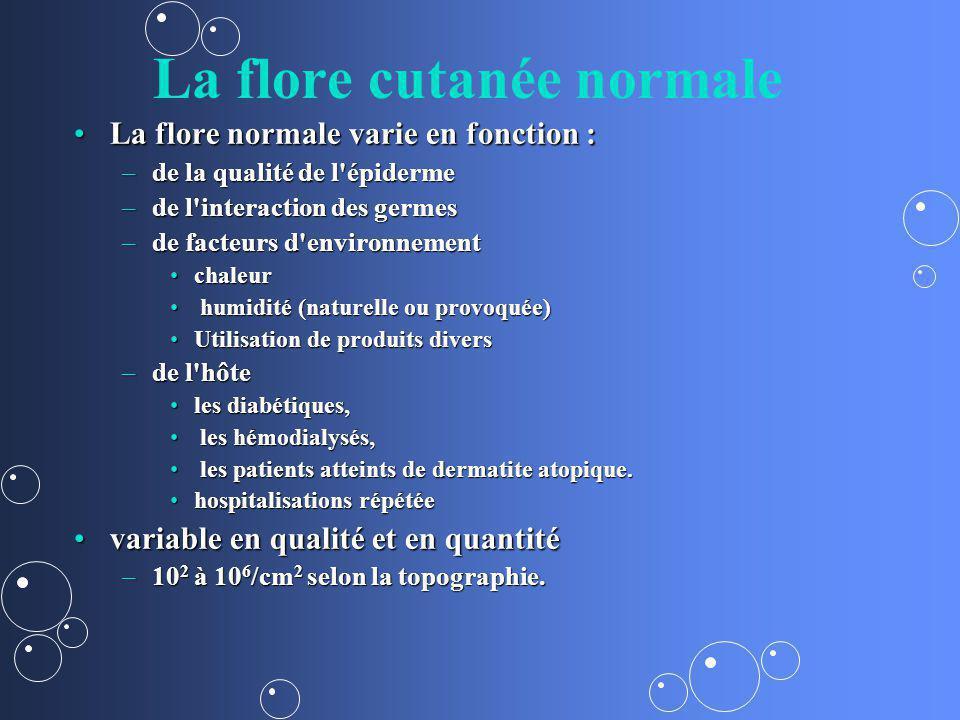 La flore cutanée normale La flore normale varie en fonction :La flore normale varie en fonction : –de la qualité de l'épiderme –de l'interaction des g