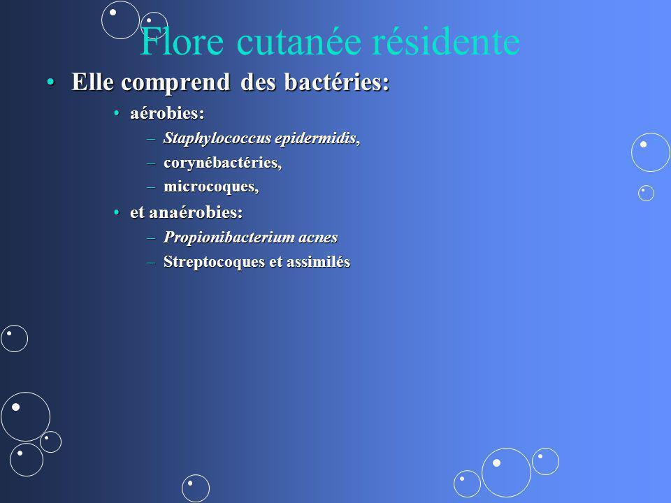 Flore cutanée résidente la flore résidente ou de séjour,la flore résidente ou de séjour, –Ces bactéries sont habituellement peu pathogènes chez l homme sain, –elles jouent un rôle de barrière en s opposant à l implantation d autres espèces potentiellement pathogènes.