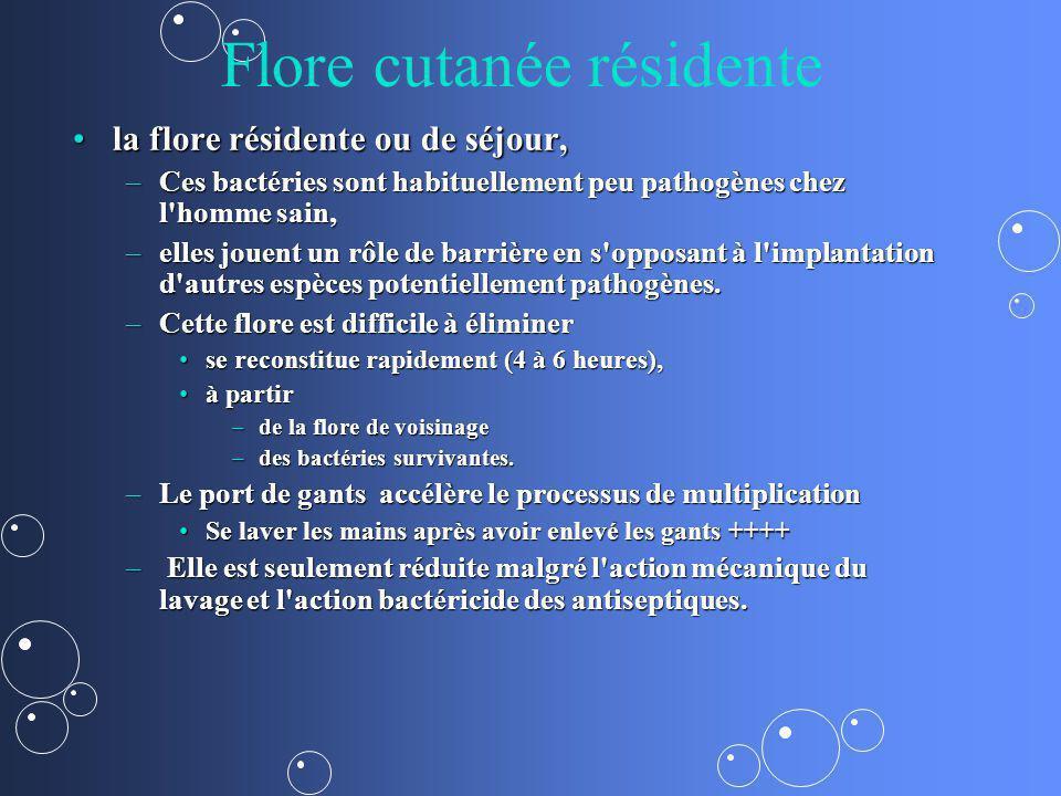 Flore cutanée résidente la flore résidente ou de séjour,la flore résidente ou de séjour, –Ces bactéries sont habituellement peu pathogènes chez l'homm