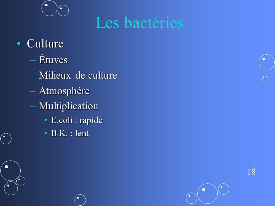 18 Les bactéries CultureCulture –Étuves –Milieux de culture –Atmosphère –Multiplication E.coli : rapideE.coli : rapide B.K. : lentB.K. : lent