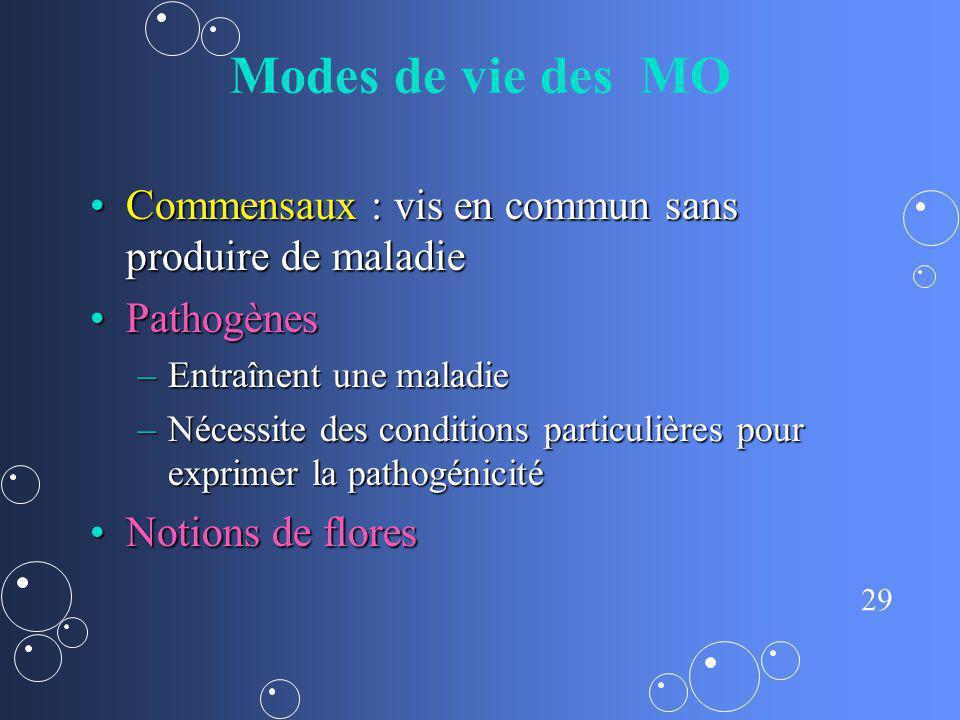 29 Modes de vie des MO Commensaux : vis en commun sans produire de maladieCommensaux : vis en commun sans produire de maladie PathogènesPathogènes –En