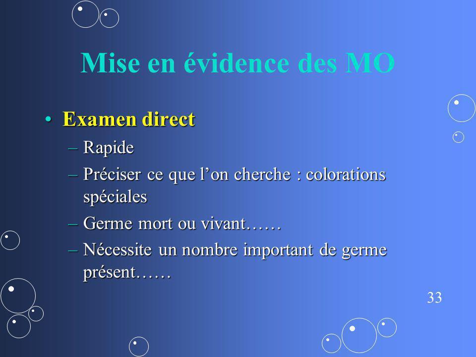 33 Mise en évidence des MO Examen directExamen direct –Rapide –Préciser ce que lon cherche : colorations spéciales –Germe mort ou vivant…… –Nécessite