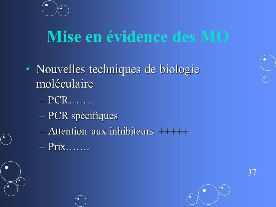37 Mise en évidence des MO Nouvelles techniques de biologie moléculaireNouvelles techniques de biologie moléculaire –PCR……. –PCR spécifiques –Attentio