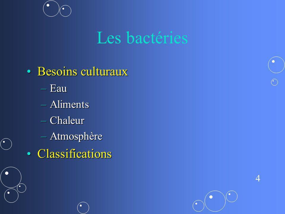 4 Les bactéries Besoins culturauxBesoins culturaux –Eau –Aliments –Chaleur –Atmosphère ClassificationsClassifications