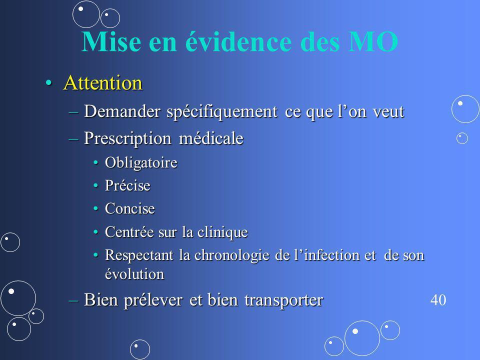 40 Mise en évidence des MO AttentionAttention –Demander spécifiquement ce que lon veut –Prescription médicale ObligatoireObligatoire PrécisePrécise Co