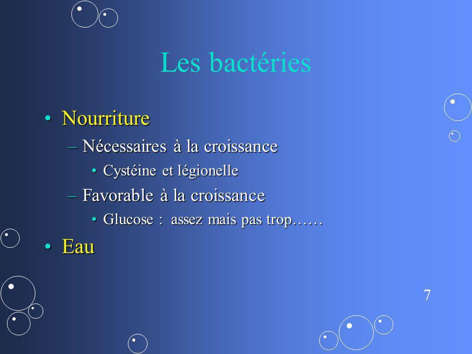 7 Les bactéries NourritureNourriture –Nécessaires à la croissance Cystéine et légionelleCystéine et légionelle –Favorable à la croissance Glucose : as